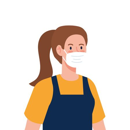 Female gardener with mask and apron design, Workers occupation and job theme Vector illustration Illusztráció