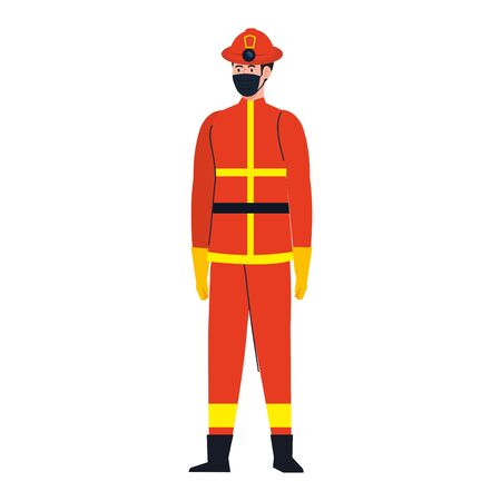 male firefighter with mask design, Workers occupation and job theme Vector illustration