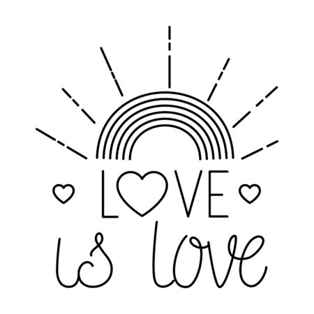 love is love rainbow and hearts design of love passion and romantic theme Vector illustration