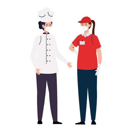 Female chef and delivery woman with masks design, Workers occupation and job theme Vector illustration