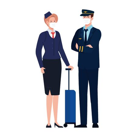 Female and male pilot and stewardess with masks design, Workers occupation and job theme Vector illustration