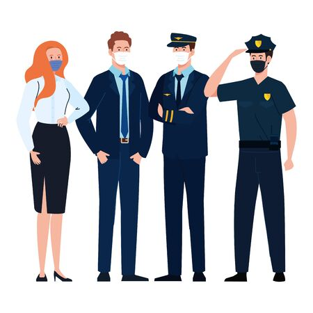 pilot businesspeople and police with masks design, Workers occupation and job theme Vector illustration