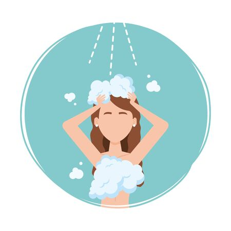 Woman avatar washing hair design, Disinfects clean antibacterial and hygiene theme Vector illustration Stock Illustratie
