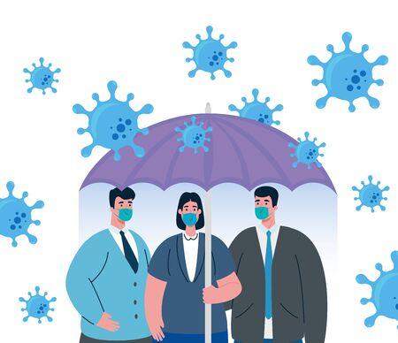 umbrella protecting business people, inmmune coronavirus covid 19 concept Vektorové ilustrace