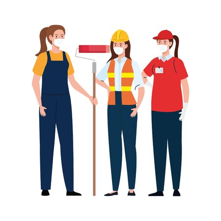 Female painter constructor and delivery woman with masks design, Workers occupation and job theme Vector illustration