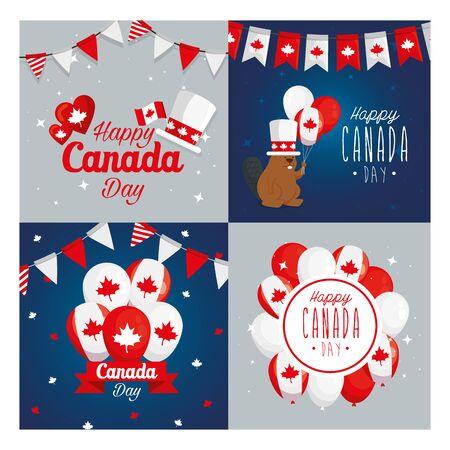 Canadian icon set frames design, Happy canada day holiday and national theme Vector illustration Ilustração