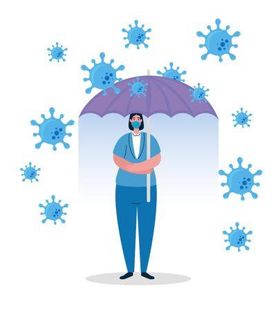 umbrella protecting business woman, inmmune coronavirus covid 19 concept