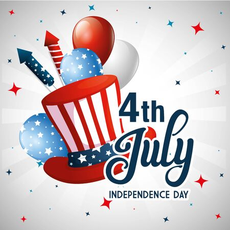 hat balloons and fireworks design, Happy independence day 4th july and usa theme Vector illustration Ilustración de vector