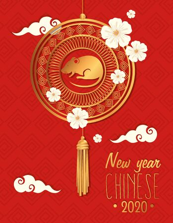 happy new year chinese with rat and decoration vector illustration design