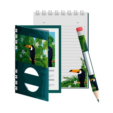 notepad and pencil with tropical fauna print vector illustration design