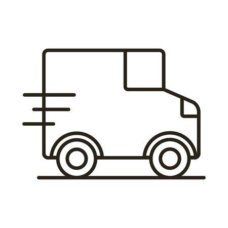 van delivery service line style icon vector illustration design