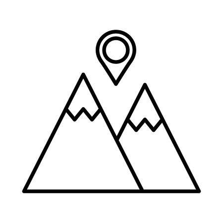 mountain with pin pointer location line style vector illustration design