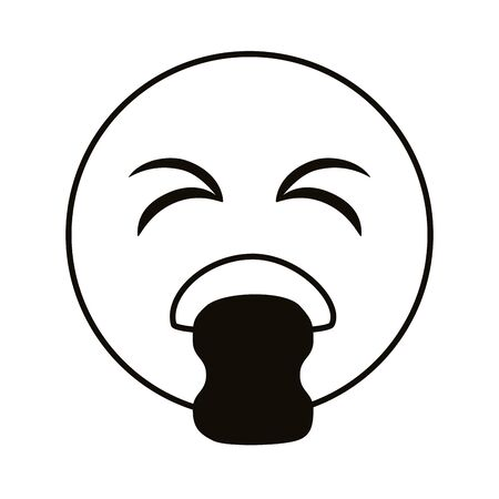 emoji sick throwing up line style vector illustration design