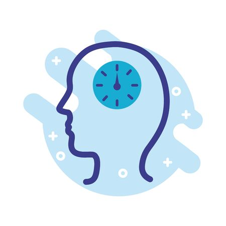 profile with time clock mental health line style icon vector illustration design Ilustração