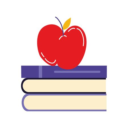 school pile text books with apple vector illustration design