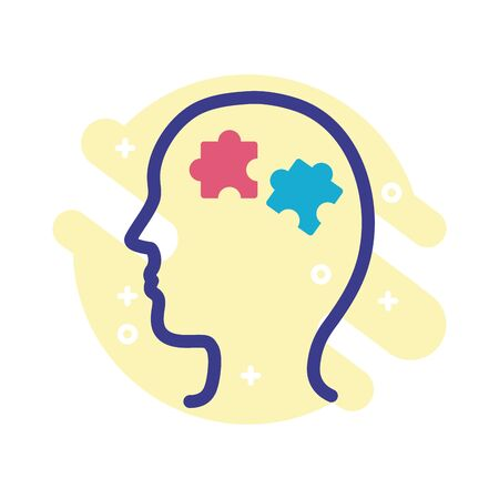 profile with puzzle pieces mental health line style icon vector illustration design