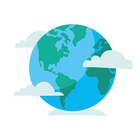 world planet earth with clouds vector illustration design Ilustração