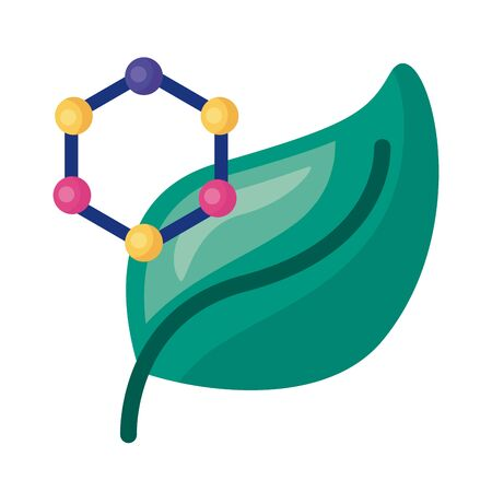 dna molecule structure with leaf detailed style icon icon vector illustration design