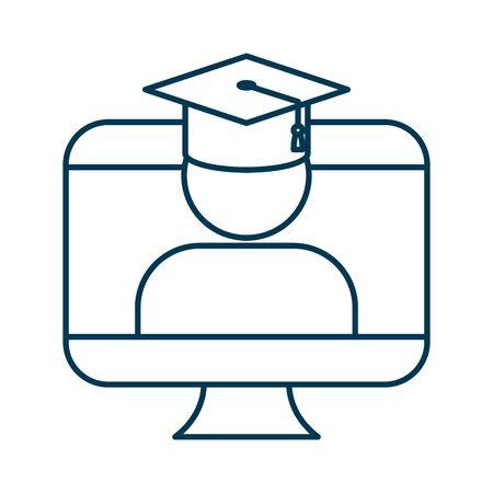 student graduated with hat in desktop vector illustration design