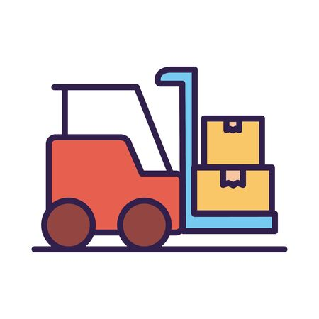 forklift vehicle service line and fill style vector illustration design