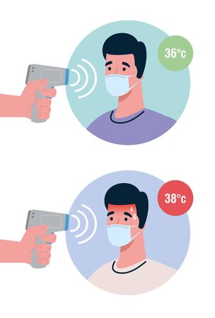 covid 19 coronavirus, hands holding infrared thermometers to measure body temperature, men check temperature vector illustration design 免版税图像 - 148713120