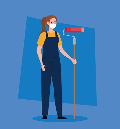cute woman in overalls wearing medical mask, with painter roller, prevention coronavirus covid 19 concept vector illustration design