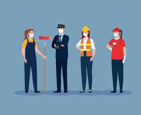 pilot with workers group in covid 19, workers wearing medical mask against coronavirus vector illustration design Vektorgrafik