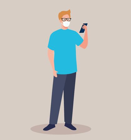 young man wearing medical mask using smartphone, social media concept  illustration design