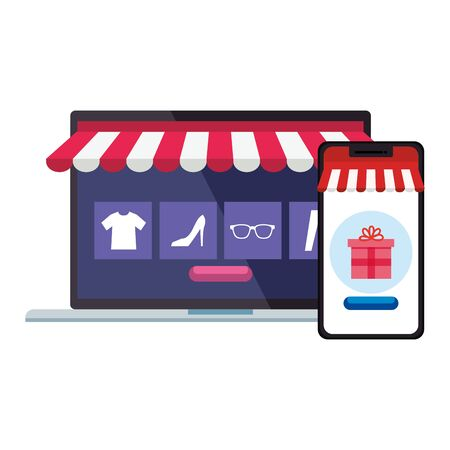 laptop and smartphone with tent gift and icon set design of Shopping online ecommerce market retail and buy theme Vector illustration Vektorgrafik