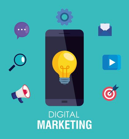 smartphone and light bulb with icon set design, Digital marketing and ecommerce theme Vector illustration