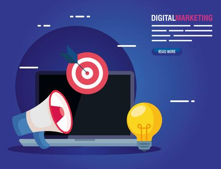laptop with megaphone target adn light bulb design, Digital marketing and ecommerce theme Vector illustration