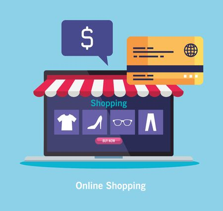 laptop with tent credit card dollar bubble and icon set design of Shopping online ecommerce market retail and buy theme Vector illustration