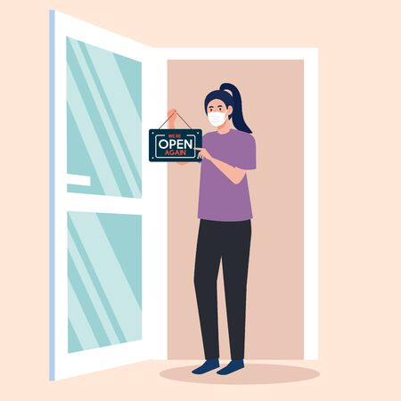 open again after quarantine, woman with label of reopening of shop and open door , we are open again vector illustration design Векторная Иллюстрация
