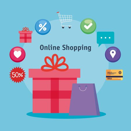 bag gift and icon set design of Shopping online ecommerce market retail and buy theme Vector illustration