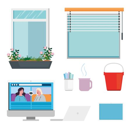 home office forniture set icons vector illustration design