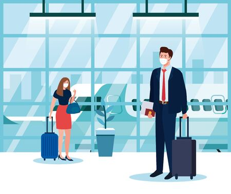 business couple wearing medical protection mask in airport terminal, traveling by airplane during coronavirus pandemic, prevention covid 19 vector illustration design