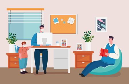 stay home work home, protect yourself, keeping distance for decrease infection prevent covid 19, stay home on quarantine during the coronavirus vector illustration design