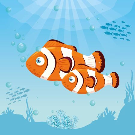 clownfish animals marine in ocean, sea world dwellers, cute underwater creatures,habitat marine vector illustration design Vectores