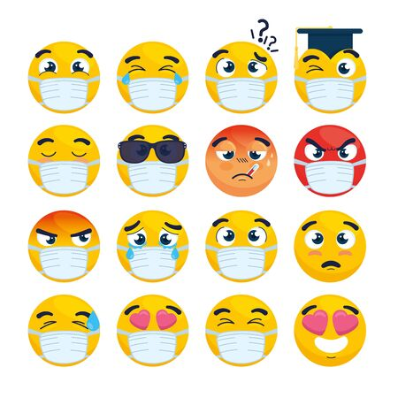 set of emoji wearing medical mask, yellow faces with a white surgical mask, icons for covid 19 coronavirus outbreak vector illustration design