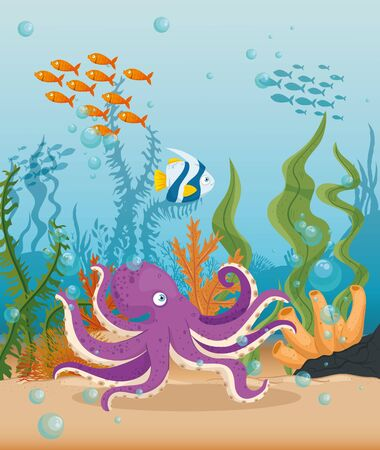 octopus with fishes marine animals in ocean, sea world dwellers, cute underwater creatures,habitat marine concept vector illustration design