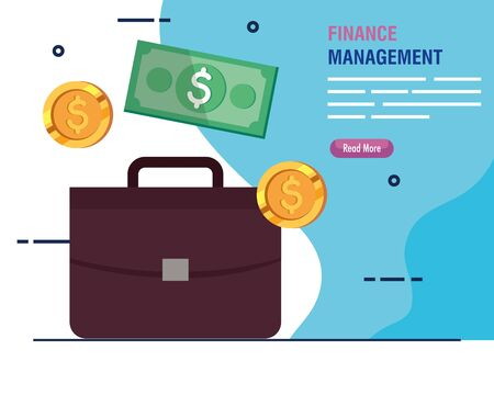 briefcase business with finance management icons vector illustration design