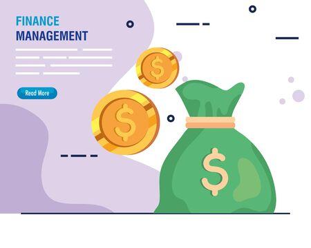 finance management money bag with coins vector illustration design 向量圖像