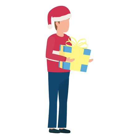 young man with christmas hat and giftbox present vector illustration design
