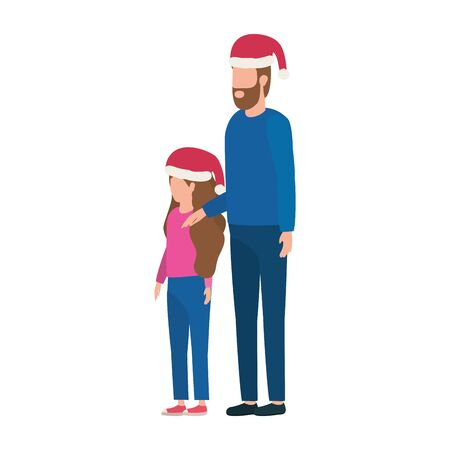 father and daughter with christmas hats characters vector illustration design Illustration