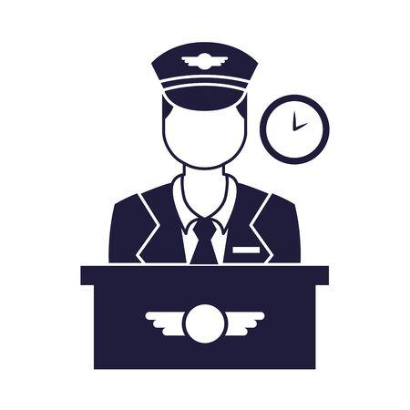 captain pilot avatar isolated icon vector illustration design