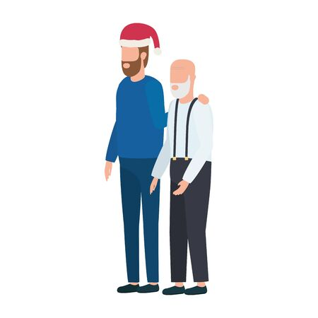 cute grandfather with young son using christmas hat vector illustration design Illustration
