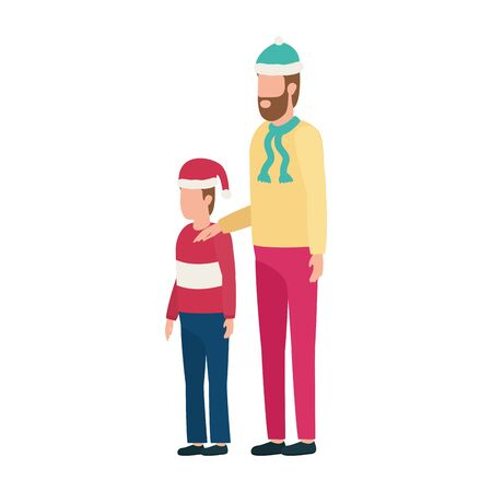 father and son with christmas hats characters vector illustration design Illustration