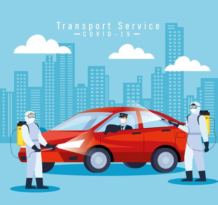 car disinfection service, prevention coronavirus covid 19, clean surfaces in car with a disinfectant spray, persons with biohazard suit vector illustration design