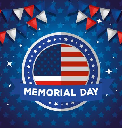 memorial day, honoring all who served, with american label and garlands hanging vector illustration design Vectores