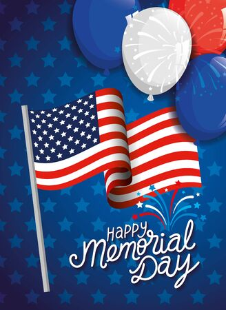 memorial day, honoring all who served, with flag and balloons helium decoration vector illustration design